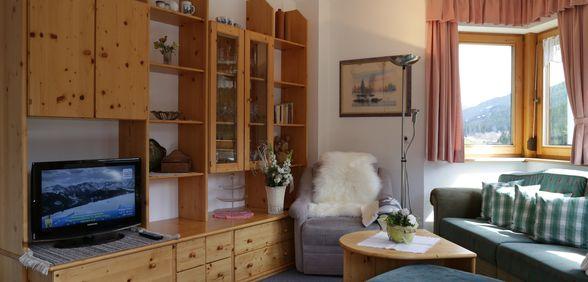 Wohnzimmer im Appartement Bergpanorama
