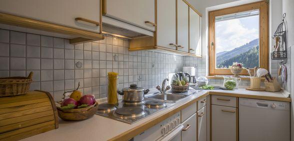 Küche um Appartement Bergpanorama